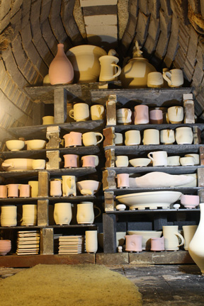 stacking the shelves in Jay Widmer's anagama kiln
